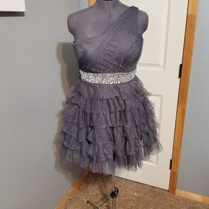 d54049a12727d Grey Tulle One Shoulder Trixxi Prom Dress